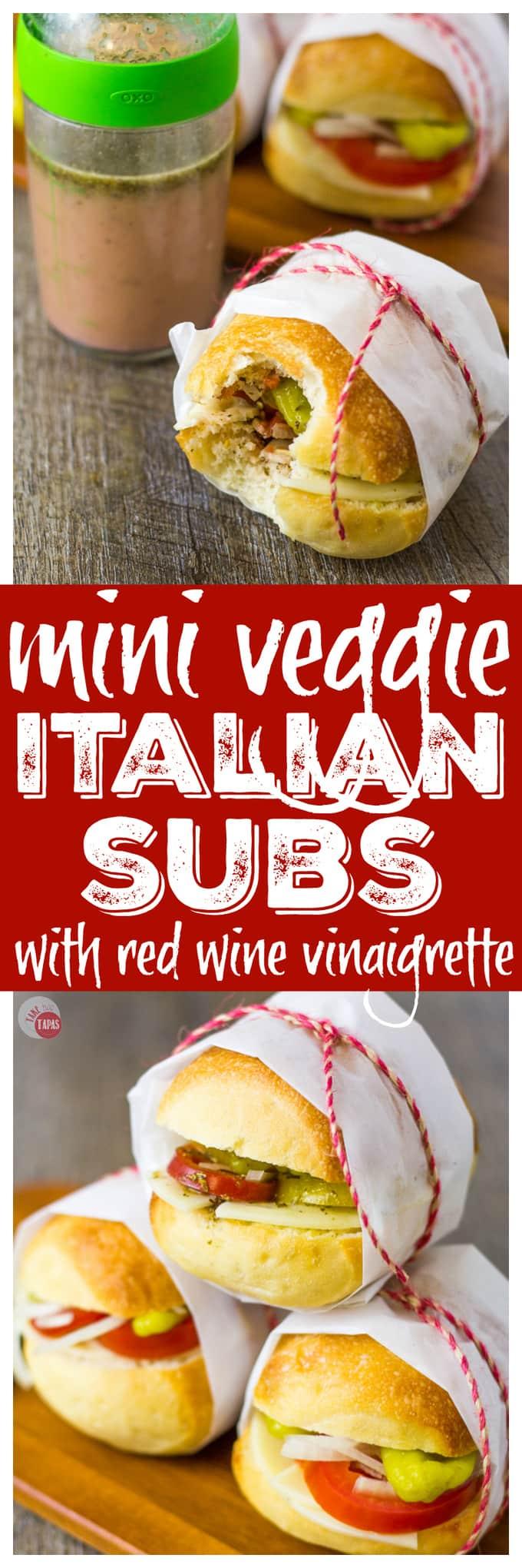 Bob's Mini Veggie Italian Sliders Subs | Take Two Tapas | #VegetarianSliders #PicnicSandwiches #PicnicIdeas #VeggieSandwiches #VegetarianSubs