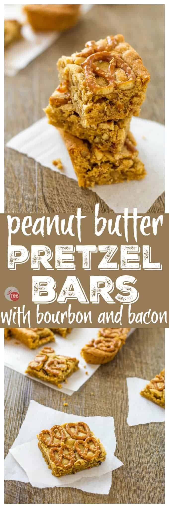 These Peanut Butter Pretzel Bars have Bacon AND Bourbon too! | Take Two Tapas | #PeanutButter #Pretzels #PeanutButterBars #BrownieRecipe #Bacon #PeanutButterRecipes