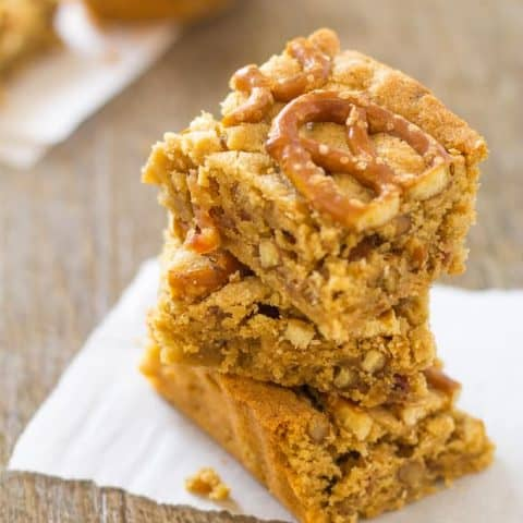 Peanut Butter Pretzel Bars with Bourbon and Bacon