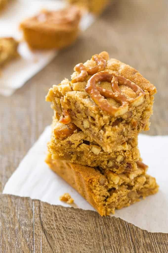 Amazing Peanut Butter Pretzel Bars with Bourbon and Bacon to Blow your mind | Take Two Tapas | #PeanutButter #Pretzels #PeanutButterBars #BrownieRecipe #Bacon #PeanutButterRecipes