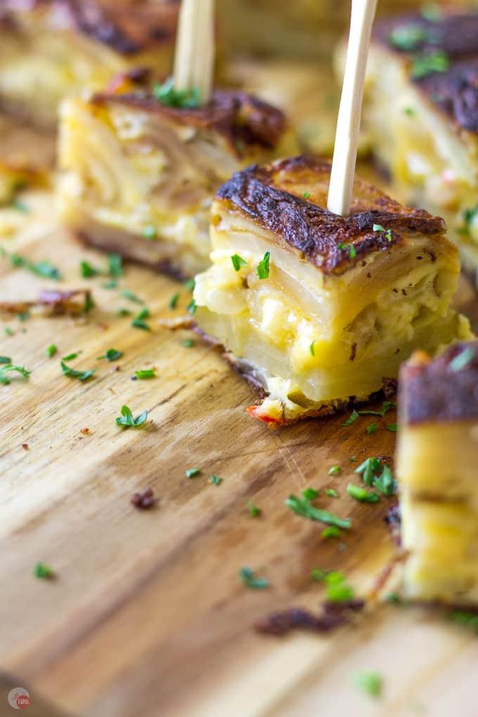 Layers of pimento cheesy goodness | Pimento Cheese Tortilla Espanola | Take Two Tapas