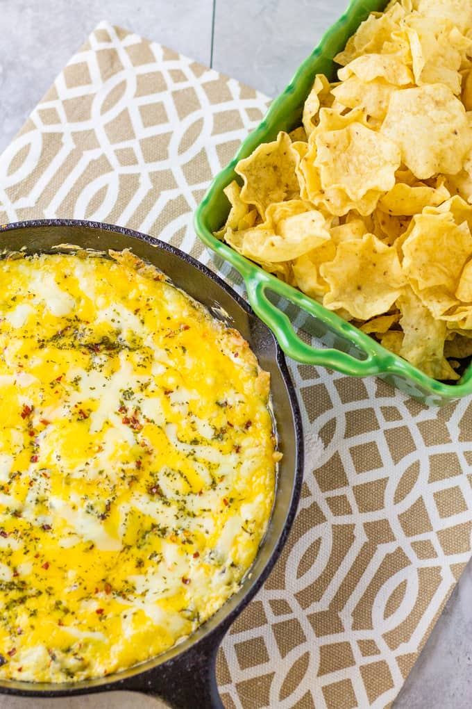 Tailgate with this smoky and cheesy Poblano Popper Skillet Dip   Take Two Tapas   #SkilletDip #PoblanoPopper #JalapeñoPopper #TailgatingDip #MakeAheadTailgatingFood
