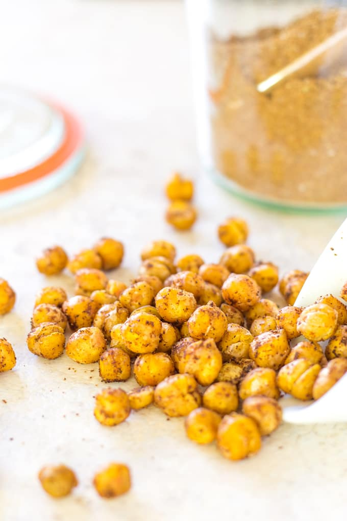 Shawarma Roasted Chickpeas make great shawarma hummus | Take Two Tapas