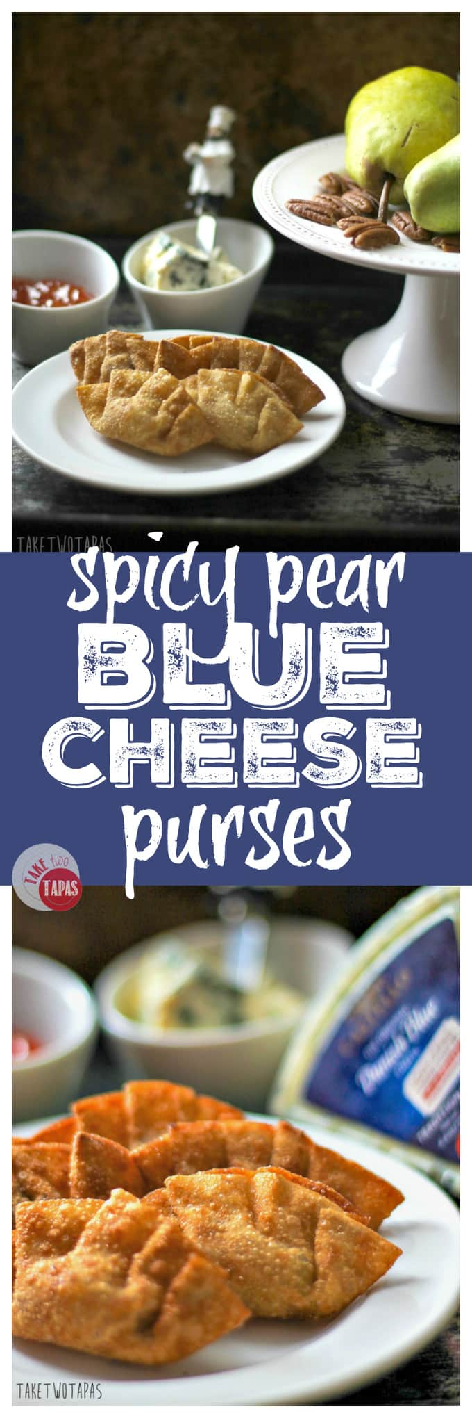 A new tapas Spicy Pear Blue Cheese Purses | Take Two Tapas