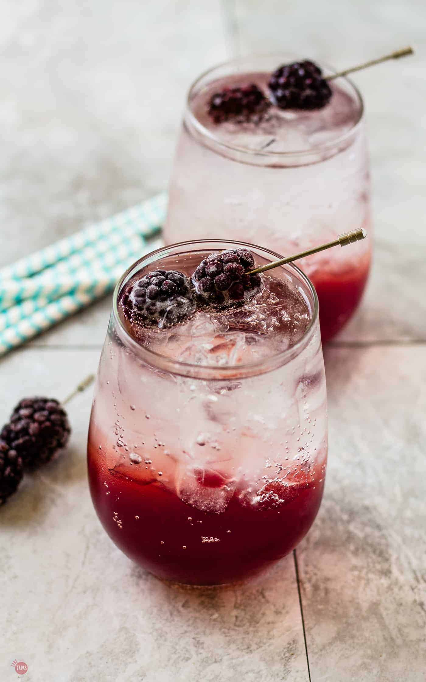 Blackberry Coconut Splash Cocktail for a lighter adult beverage | Take Two Tapas