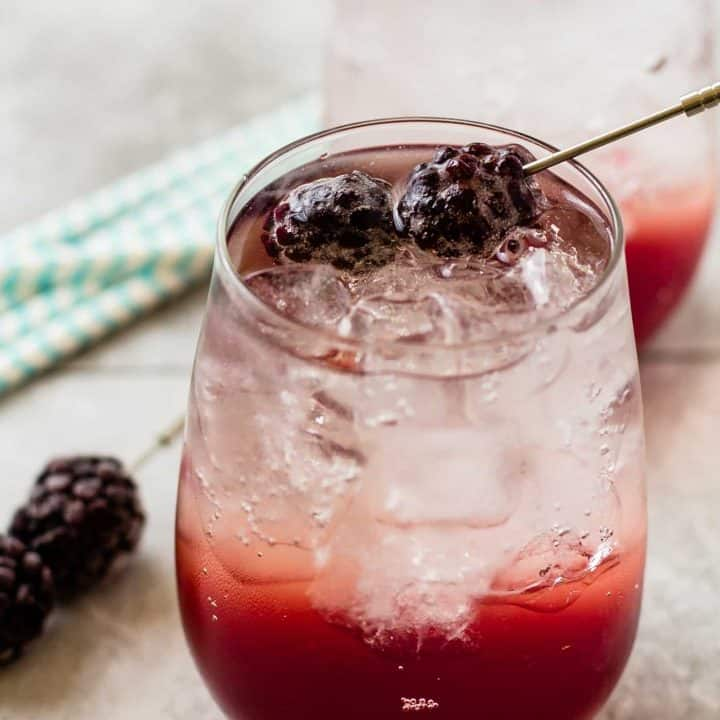 close up of Blackberry coconut splash cocktail