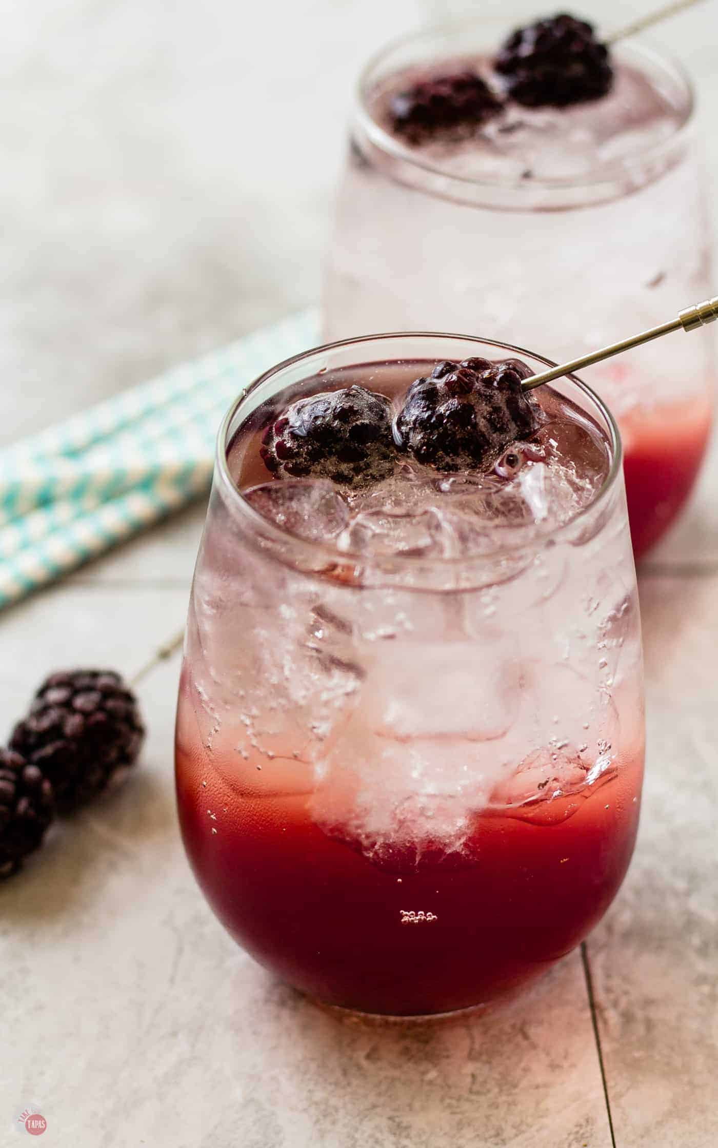 Use sparkling water to enhance your Blackberry Coconut Splash | Take Two Tapas
