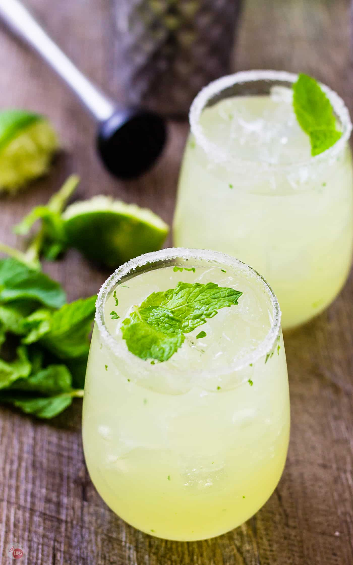 Start by muddling some mint to get your Mariachi Mash started | Take Two Tapas | #Limoncello #Lime #Tequila #Cocktails #SummerEntertaining #EasyCocktails