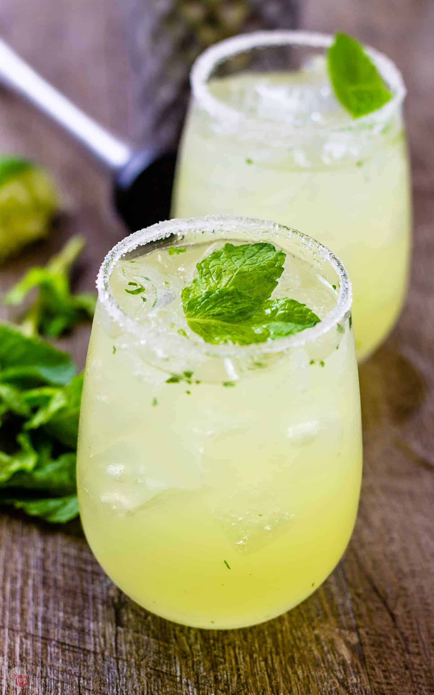 Mariachi mash, lemon lime cocktails on a wooden table