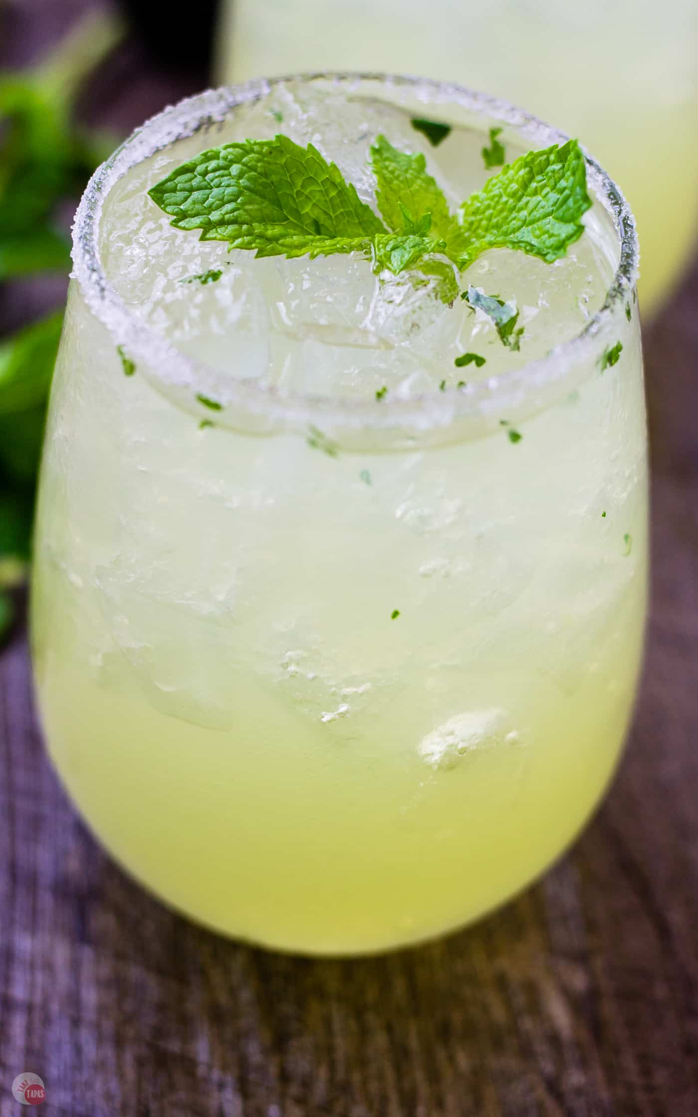 Check out the flecks of mint floating in the Mariachi Mash | Take Two Tapas | #Limoncello #Lime #Tequila #Cocktails #SummerEntertaining #EasyCocktails