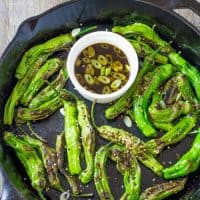 Pan Blistered Shishito Peppers with Ginger Ponzu Dipping Sauce