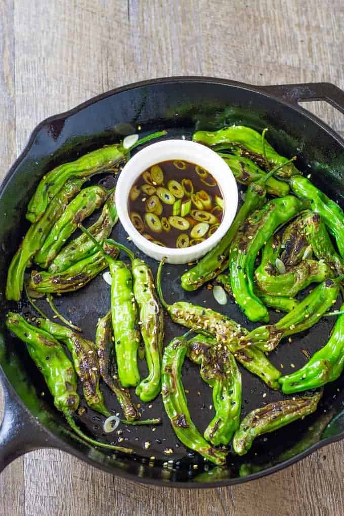 Get a screaming hot cast iron skillet for the blistered shishito peppers | Take Two Tapas | #ShishitoPeppers #ShishitoRecipe #Peppers #Ponzu #FingerFoods