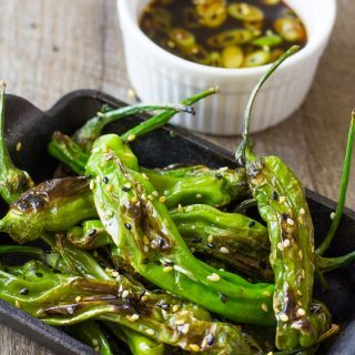 Pan Blistered Shishito Peppers with Ginger Ponzu Dipping Sauce | Take Two Tapas