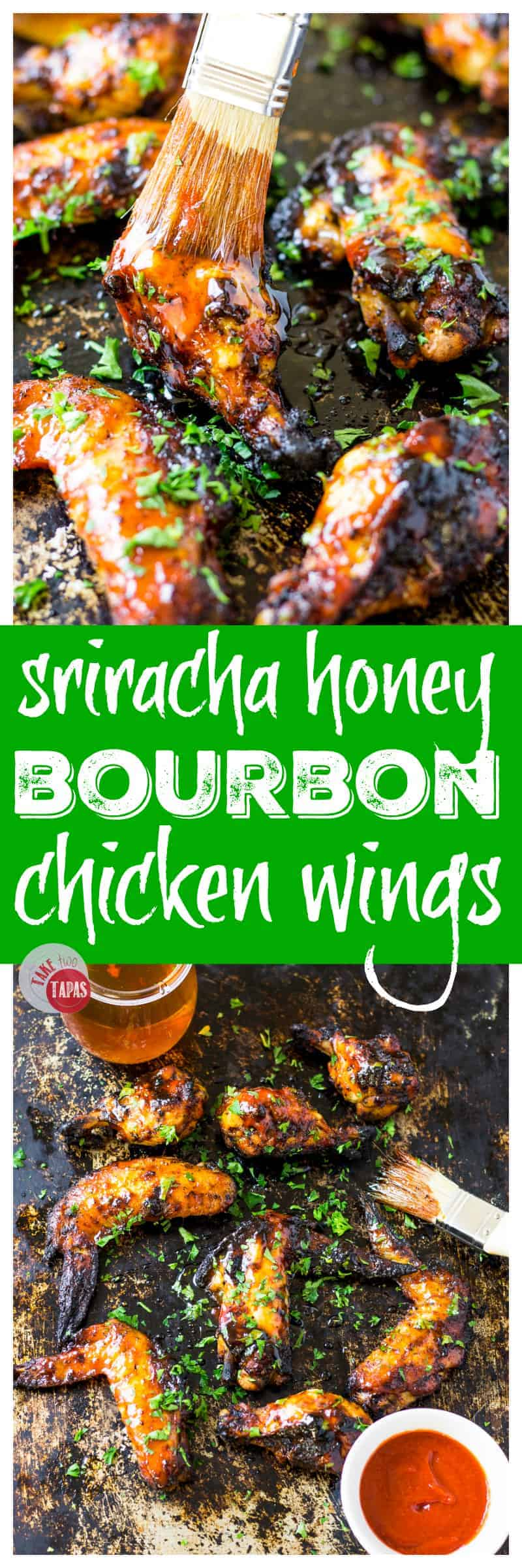 Sriracha Honey Bourbon Chicken Wings for your tailgating celebration | Take Two Tapas