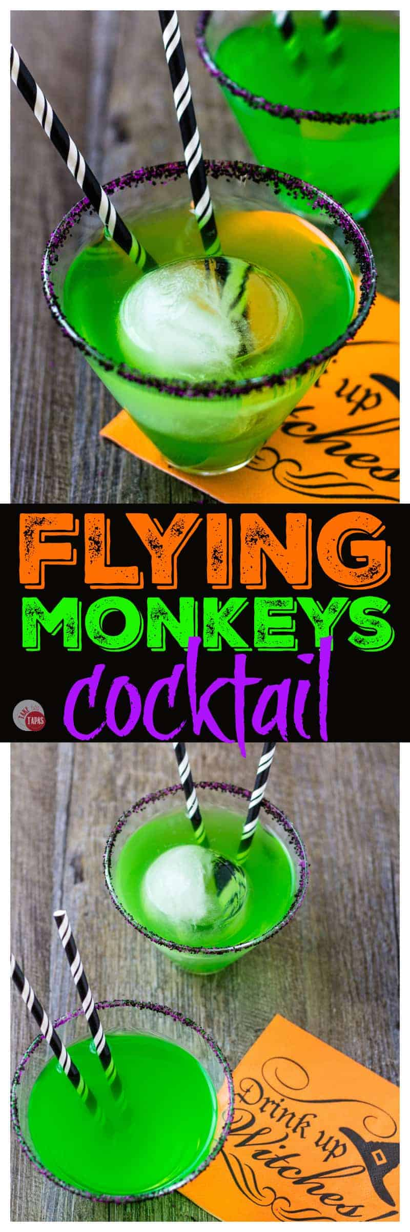 The Fall flavors of apple and pear are combined in a fun and spooky Halloween witch cocktail called the Flying Monkeys.  Complete with a crystal ball and striped sock straws! | Take Two Tapas