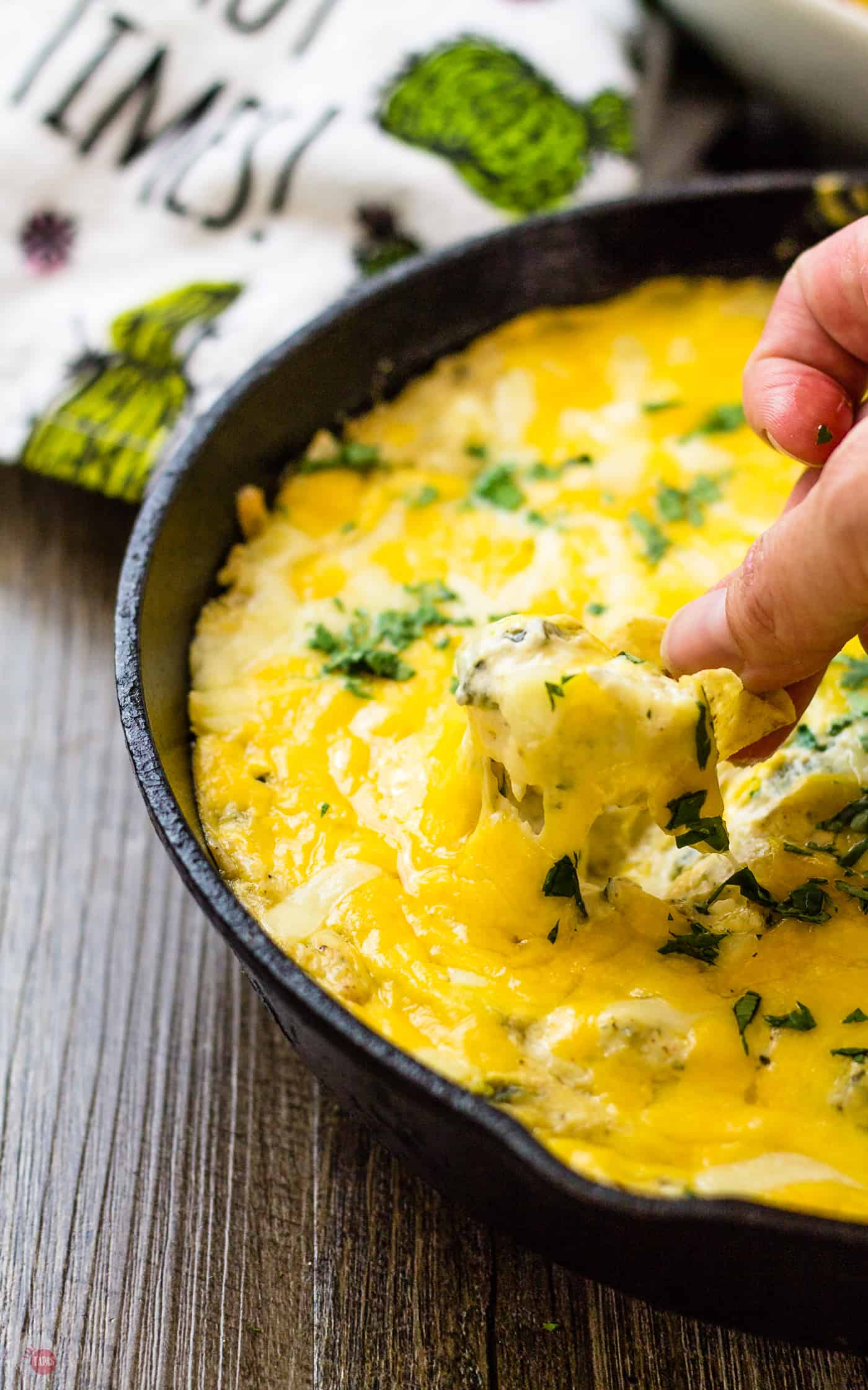 All this stretchy cheese will warm you up in my Chile Relleno Skillet Dip | Take two Tapas