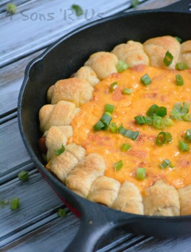 Chili Cheese Dog Pull Apart Skillet Dip - 4 Sons R Us | Take Two Tapas