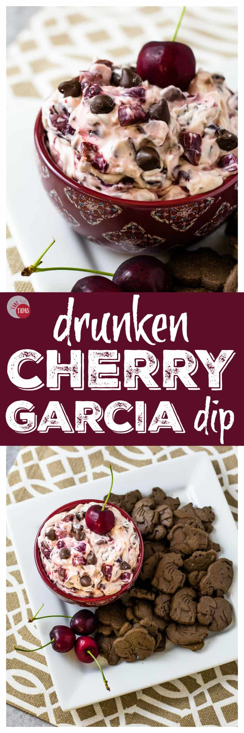 Creamy Drunken Cherry Garcia Dip pinterest long collage