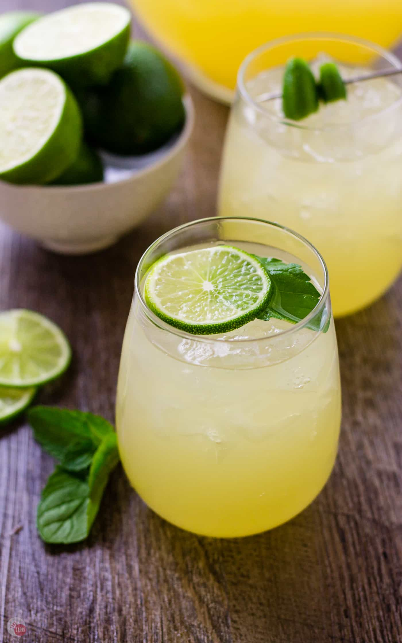 Let's make the homoemade honey limeade first so we can use it in the Wimade | Take Two Tapas | #Wimade #Wine #Limeade #HoneyLimeade #Wine #LayeredCocktail