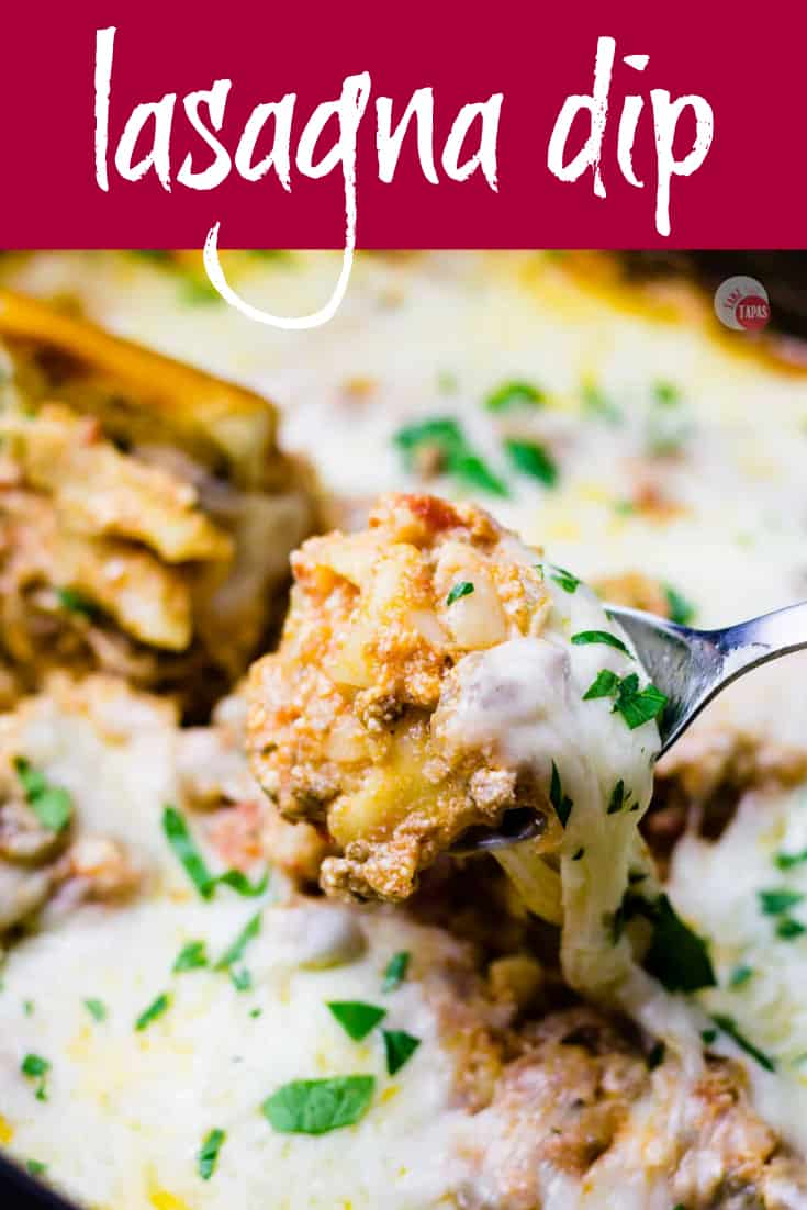 This crockpot lasagna dip wouldn't be complete without some pasta and extra cheese! | Take Two Tapas | #crockpot #slowcooker #lasagna #dip #appetizer