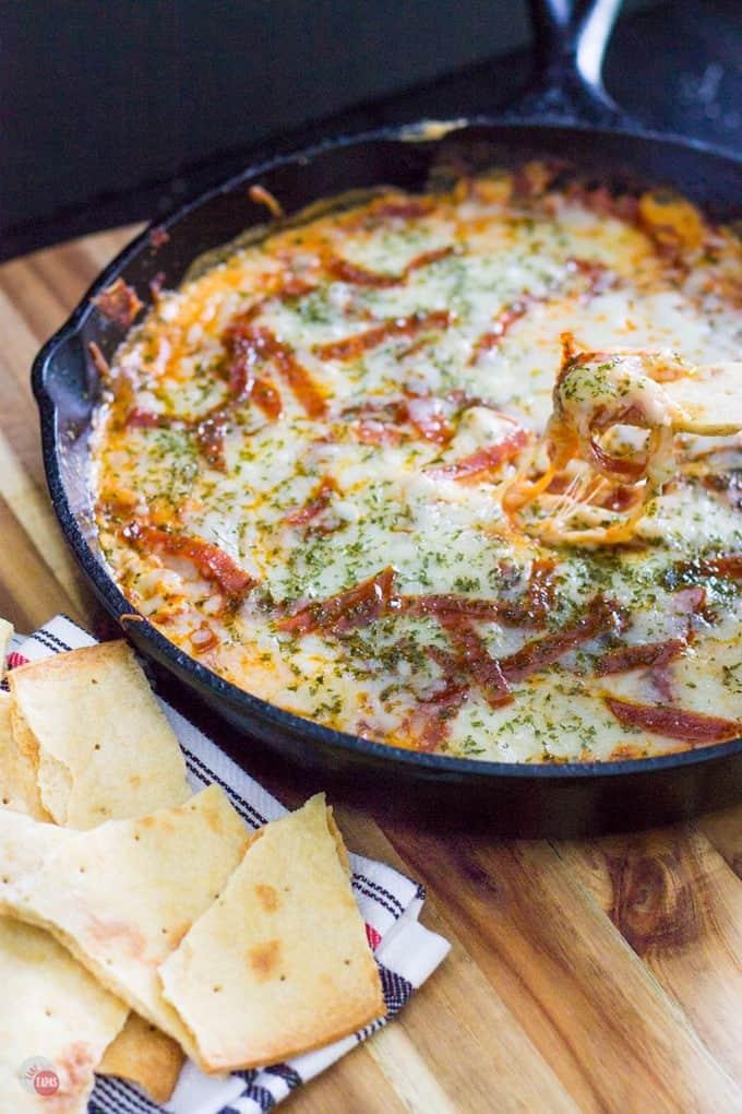 Extra Cheesy Pepperoni Pizza Skillet Dip | Take Two Tapas