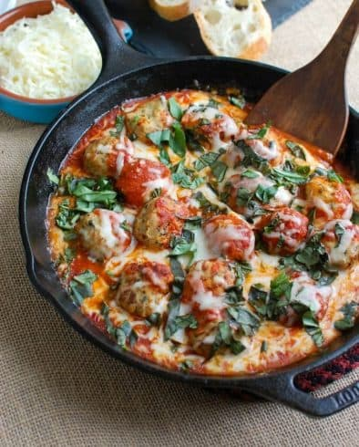 Tomato Basil Meatball Skillet Dip - A Cedar Spoon | Take Two Tapas