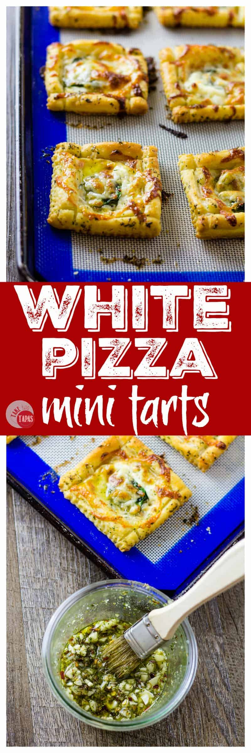 White Pizza Mini Tarts are the perfect single serve pizza option | Take Two Tapas #pizza #whitepizza #tarts