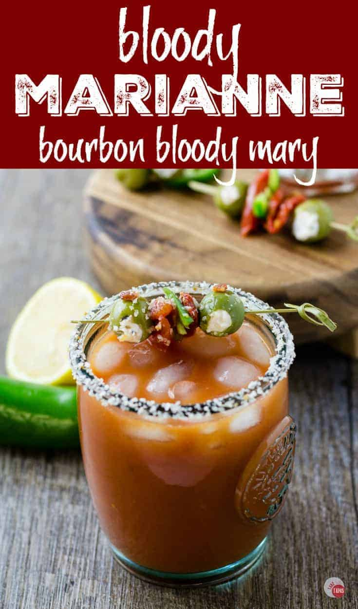 A bourbon Bloody Mary | Bloody Marianne | Take Two Tapas | #BloodyMary #BloodyMarianne #bourbon #Cocktails