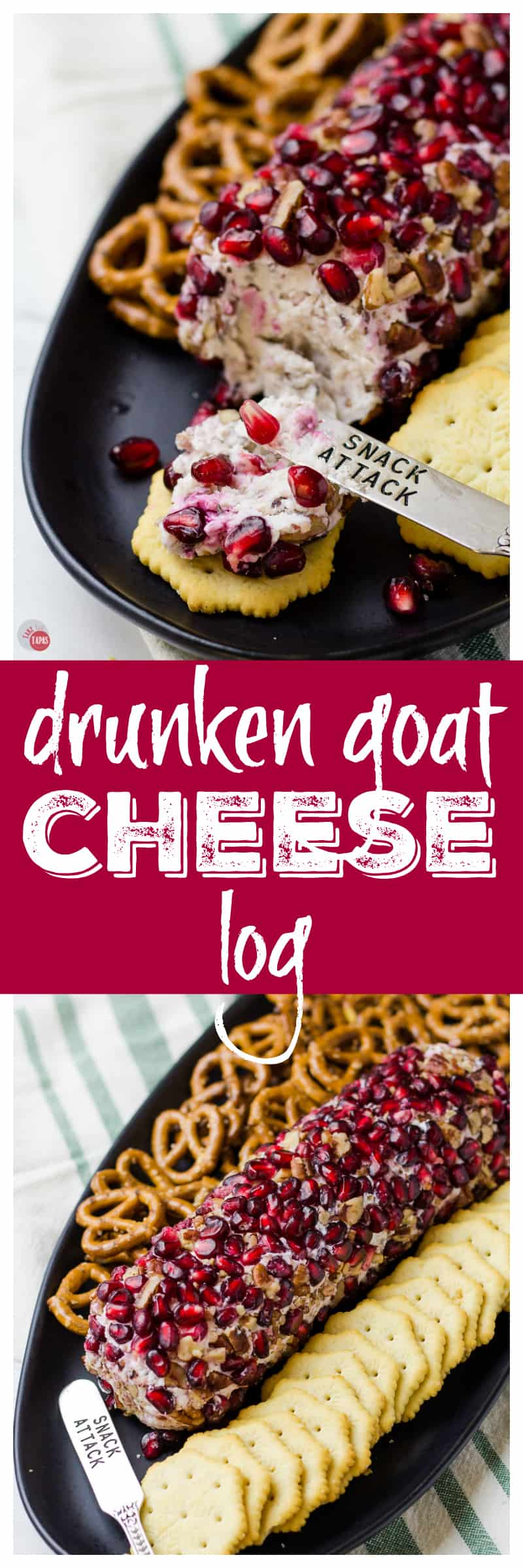 Perfect for any party! Pomegranate Drunken Goat Cheese Log | Take Two Tapas | #GoatCheese #CheeseSpread #CheeseLog #Pomegranate #Appetizers #Holidays