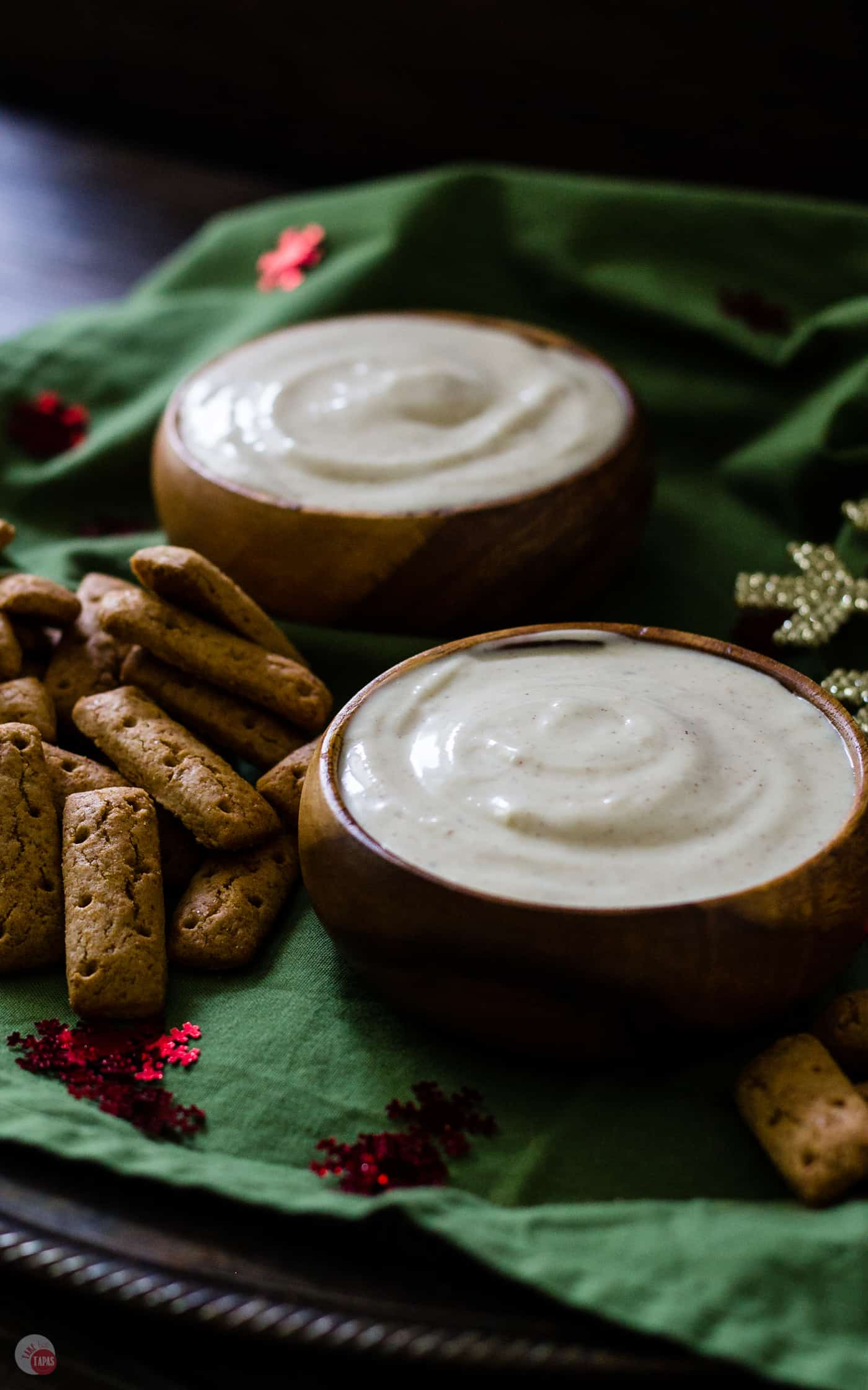 Spiked eggnog dip makes your favorite holiday cocktail into a major food group! | Take Two Tapas | #eggnog #dip #Spiked #Christmas #Spikedeggnogdip #Eggnogdip #dip #HolidayRecipes #holidayParty
