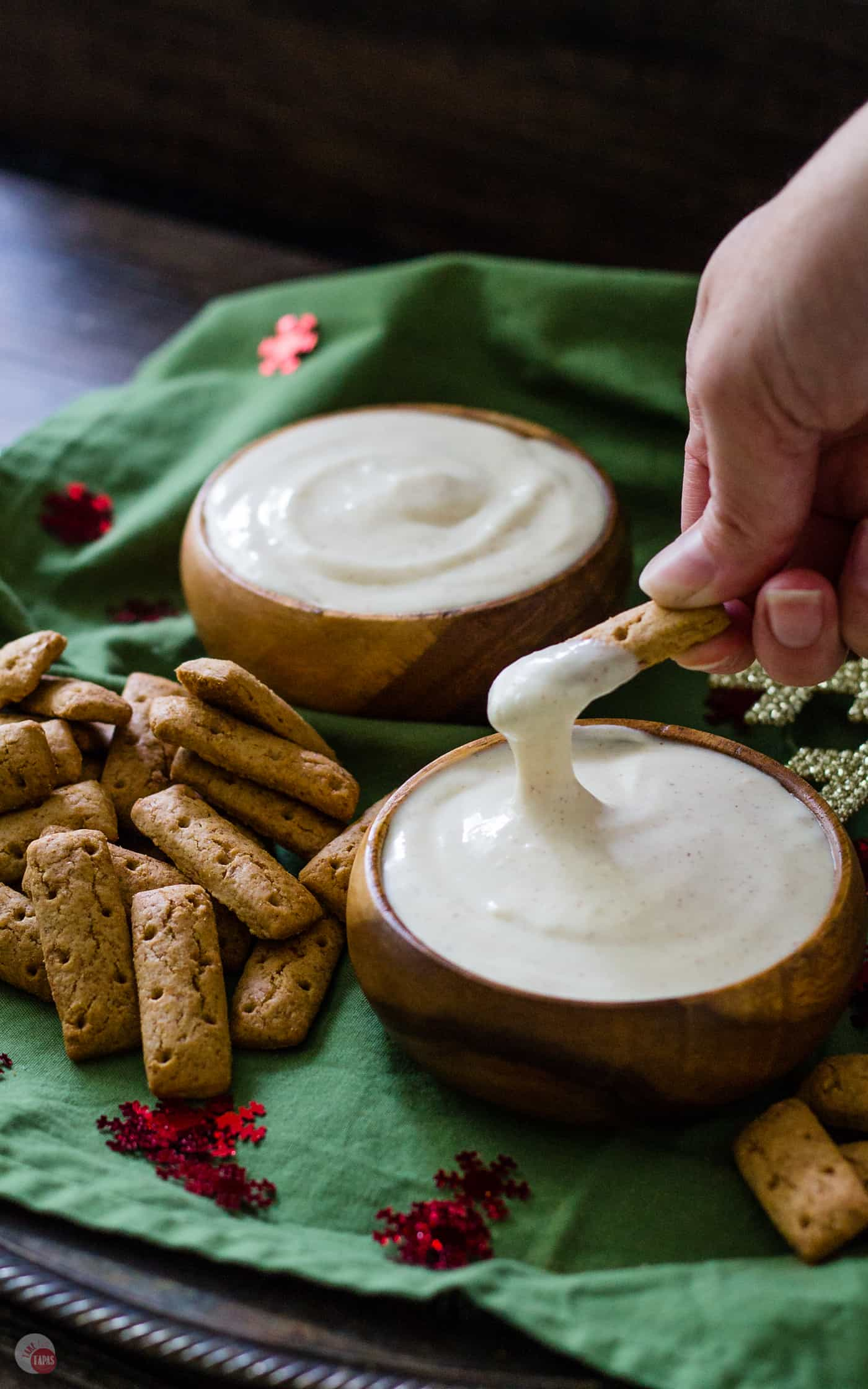 Spiked Eggnog Dip is the best way to enjoy your eggnog this holiday season | Take Two Tapas | #eggnog #spikedeggnog #dip #Spiked #Christmas #Spikedeggnogdip #Eggnogdip #HolidayRecipes #holidayParty