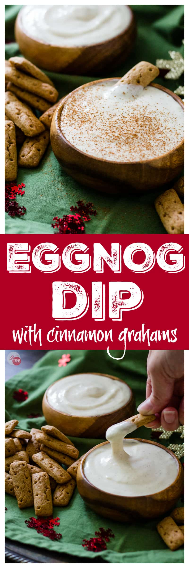 Spiked Eggnog Dip will transform your holiday party! | Take Two Tapas | #eggnog #spikedeggnog #dip #Spiked #Christmas #Spikedeggnogdip #Eggnogdip #HolidayRecipes #holidayParty