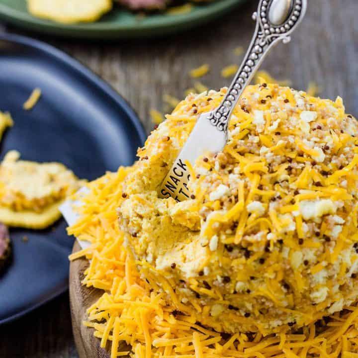 Honey Mustard Cheese Ball on a platter