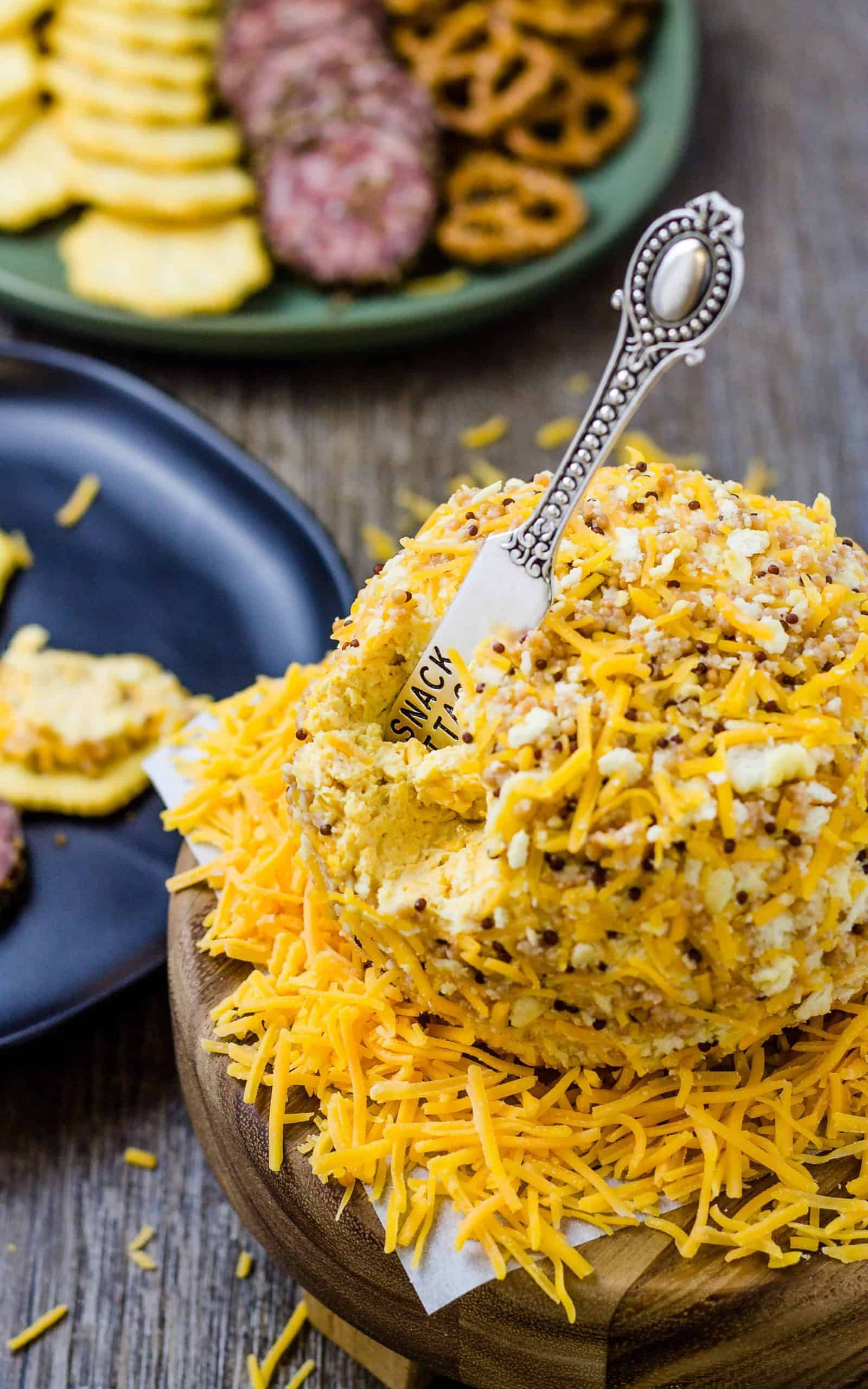 Honey Mustard Cheese Ball on a platter