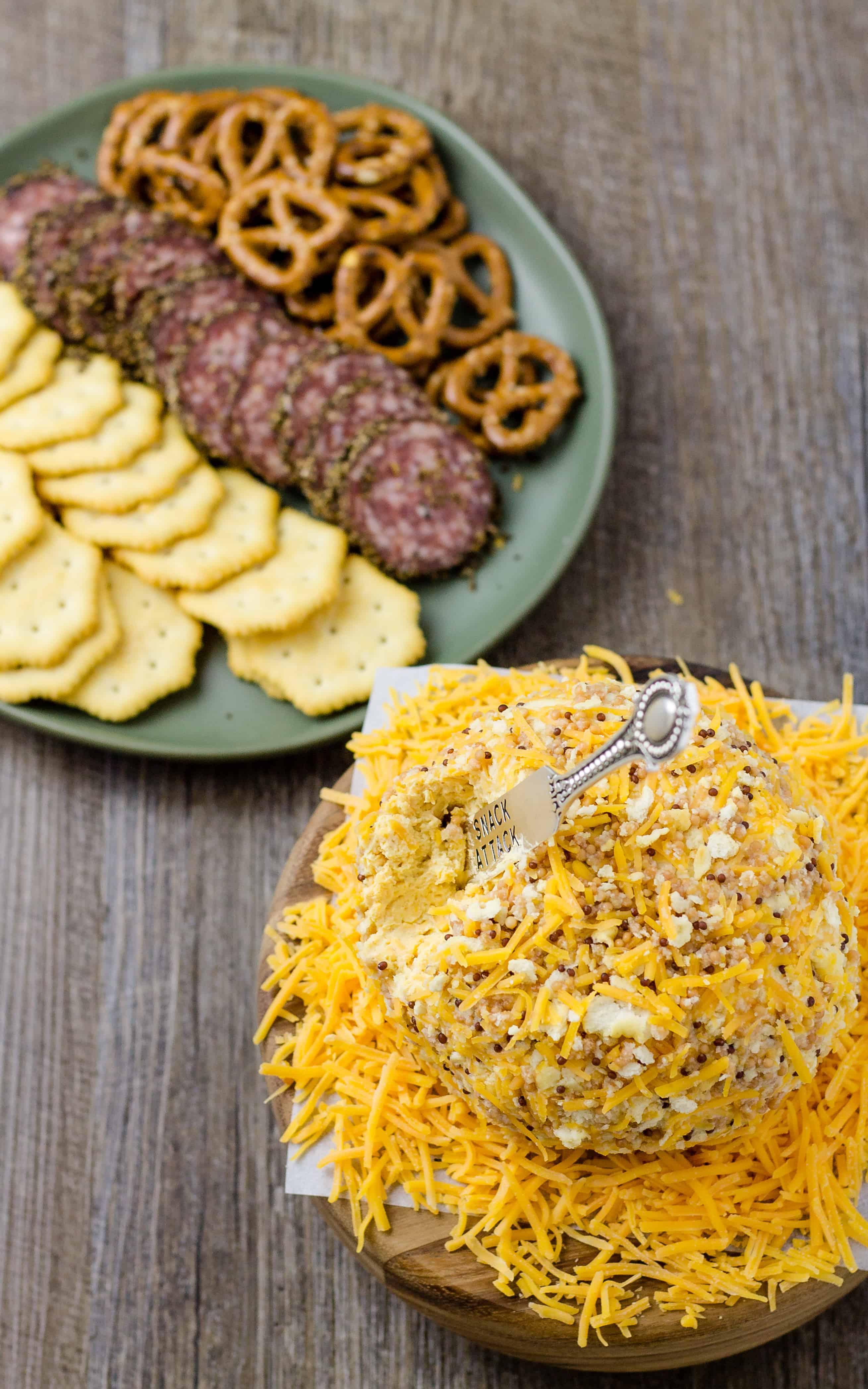 Honey Mustard Cheese Ball perfect for salami and crackers | Take Two Tapas | #HoneyMustard #honey #mustard #Cheeseball #Cheese #Holidays