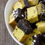 Savory Pecan Cornmeal Biscotti Bites with Dark Chocolate
