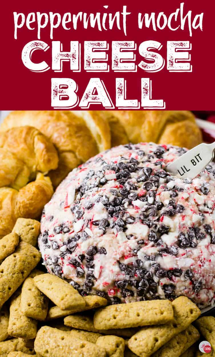 Try a Peppermint Mocha Cheese Ball for Breakfast this year | Take Two Tapas | #SavorHolidayFlavors #Peppermint #CheeseBall #Holidays