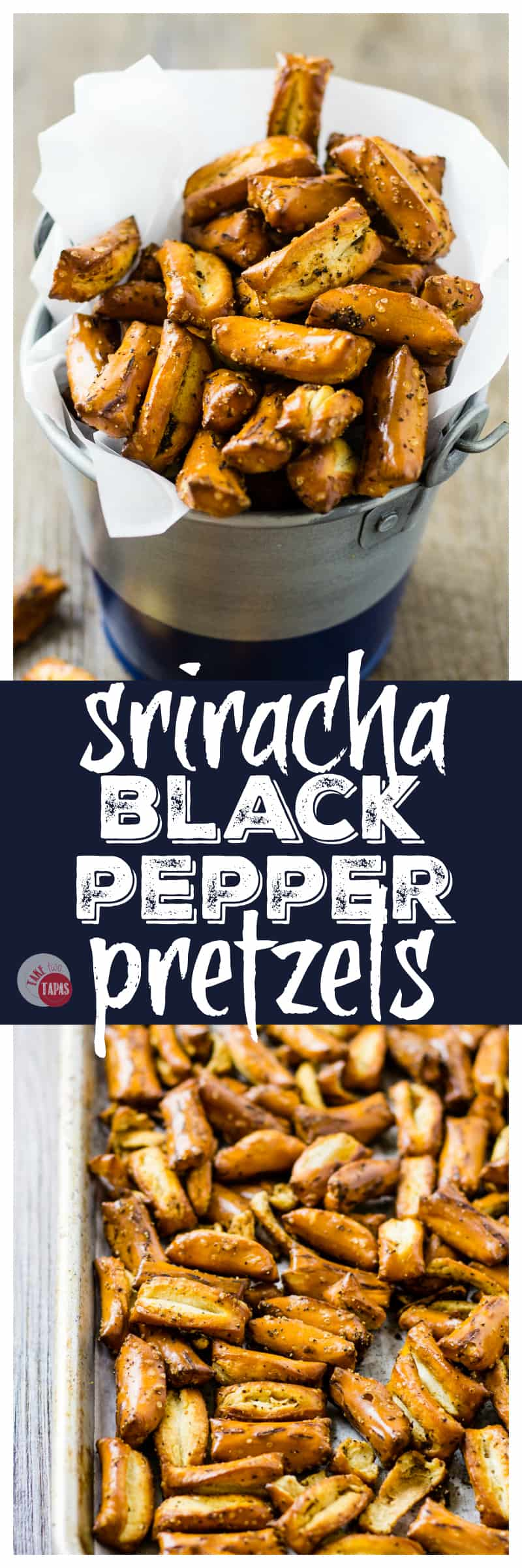 Get your #spicy and #salty on with my Sriracha Black Pepper Pretzel Nuggets | Take Two Tapas | #Sriracha #Pretzels #BlackPepper #Snacks #PretzelRecipes