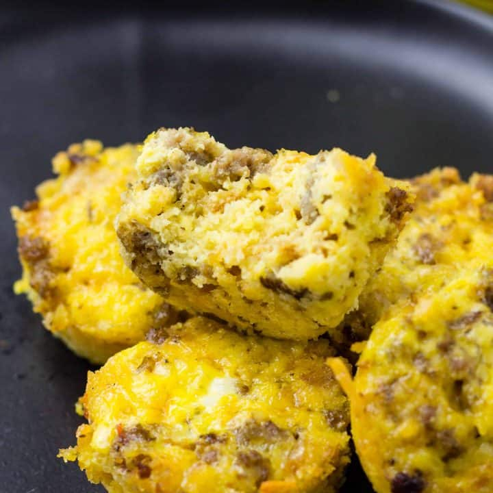 close up of breakfast casserole bites on a plate