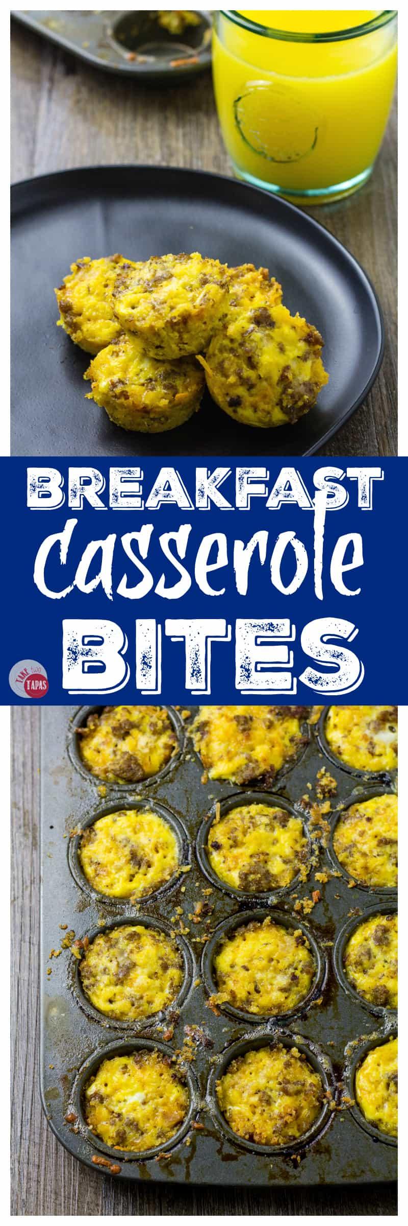 Portable Morning Breakfast Casserole Bites | Take Two Tapas | #Breakfast #Casserole #Bites #MiniMuffins
