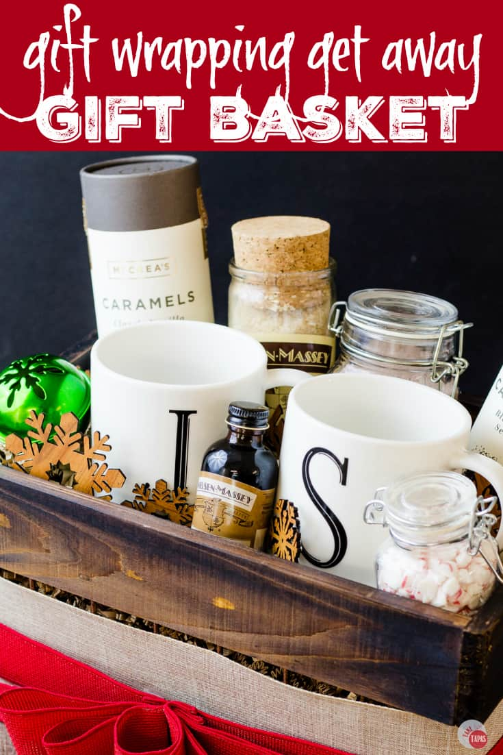 The Perfect Gift Wrapping Get Away Gift Basket For Friends | Take Two Tapas | #GiftWrapping #Mocha #GetAway #GiftBasket #Holidays #AD