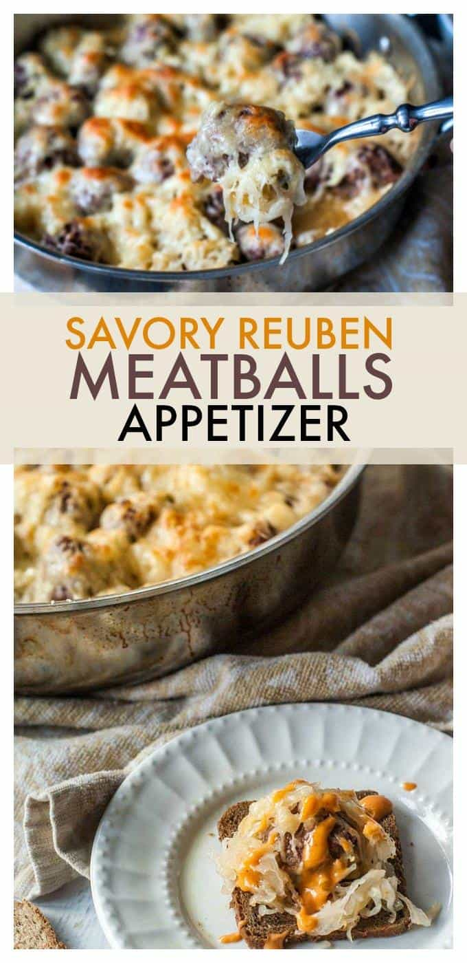 Savory Reuben meatballs are a one pan appetizer that are perfect for comfort food entertaining!  #appetizers #meatballs #gameday