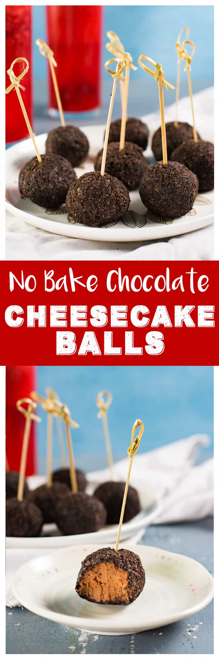 Deliciously Creamy No Bake Chocolate Cheesecake Bites, are perfect for any gathering - from holiday entertaining to party snacking. With a little bourbon, these boozy bite sized treats will be a devoured in minutes! #bitesized #truffles #nobake #chocolate
