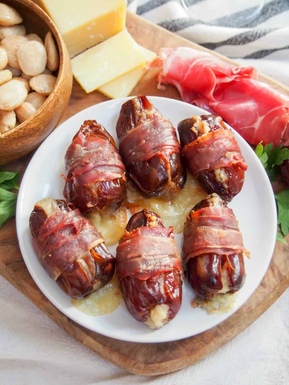 overhead view of Prosciutto wrapped dates