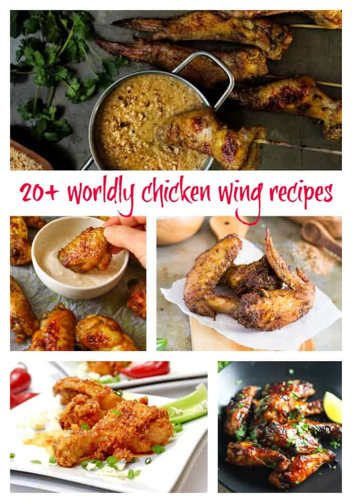 "chicken wing collage image with text ""20+ worldly chicken wing recipes"""
