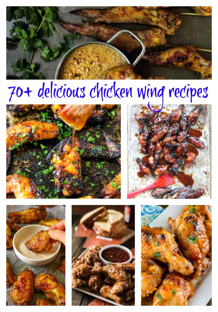 "chicken wing collage image and text ""70+ delicious chicken wing recipes"""