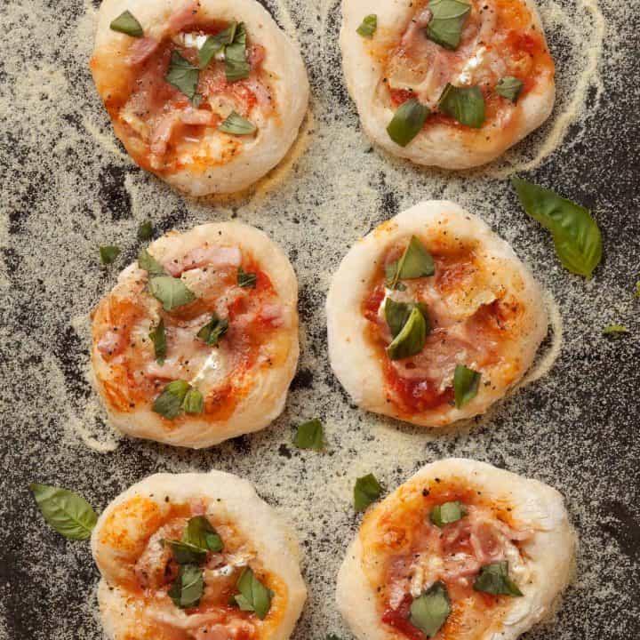 Bacon Brie Basil Mini Pizzas.