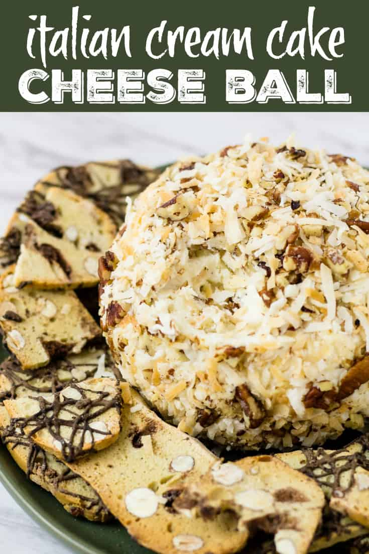 Check out my Italian Cream Cake Cheese Ball | Take Two Tapas | #ItalianCreamCake #cheeseball #dessert #partyfoods