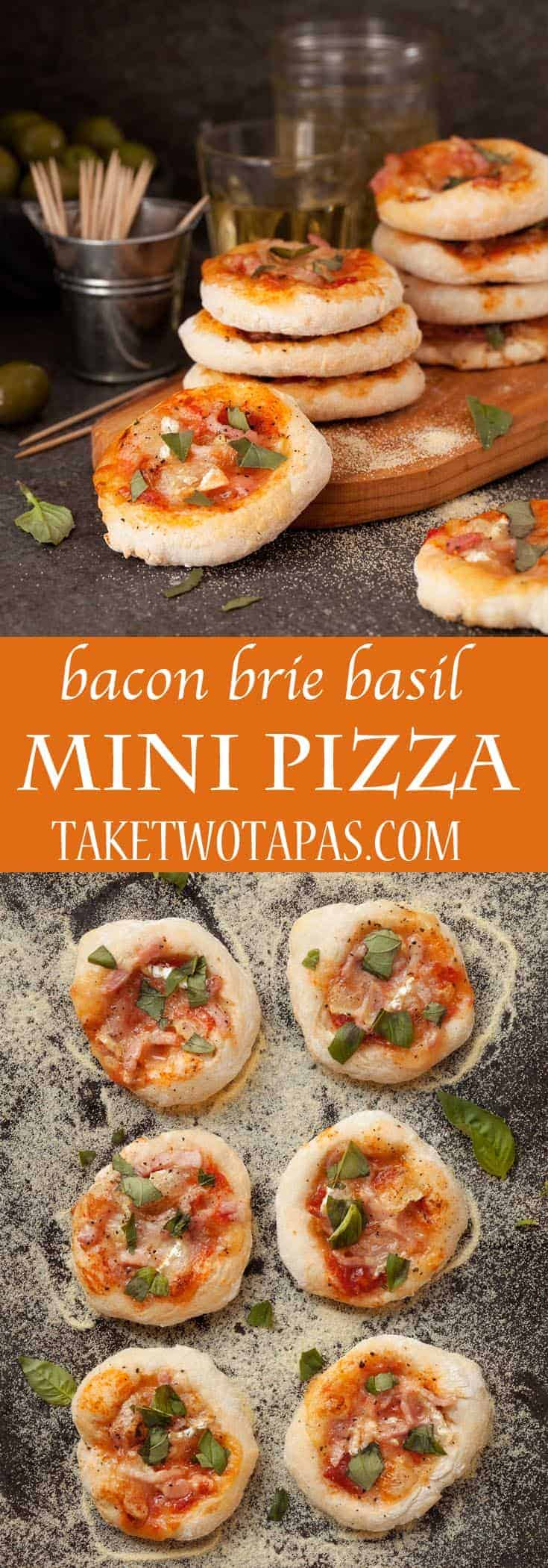 Bacon Brie Basil Mini Pizzas are a delicious full flavor snack perfect for Game Day!  #gameday #appetizer #pizza #fingerfood