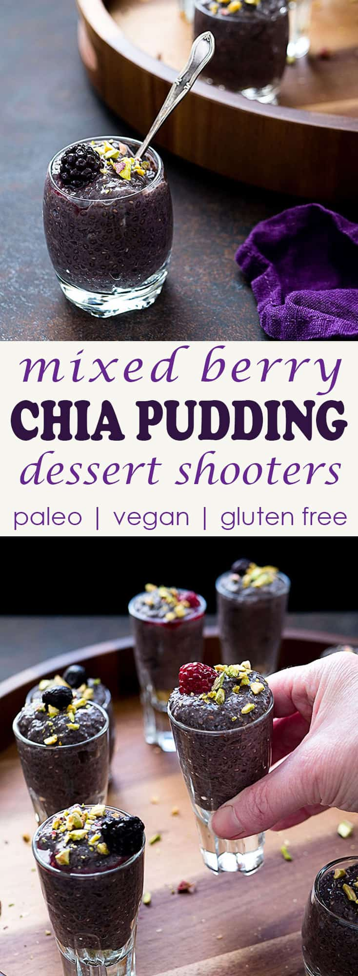 These paleo Berry Chia Pudding Dessert Shooters will feed your festive spirit AND keep your #healthgoals on track.  | Take Two Tapas | #shooter #healthydessert #dessert #paleo